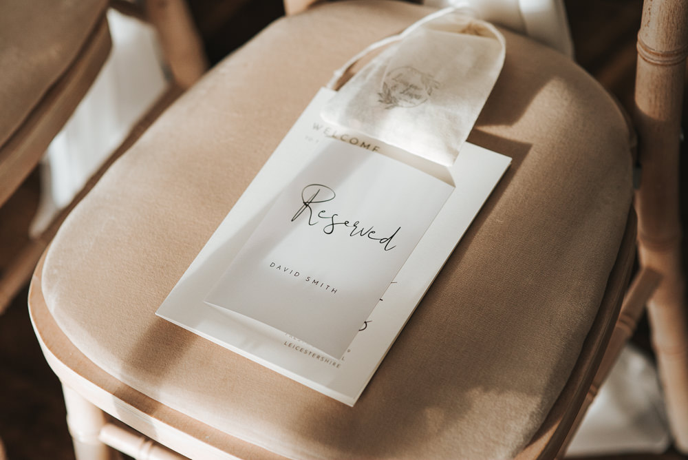 Reserved Stationery Chair Seat Prestwold Hall Wedding Pear & Bear Photography