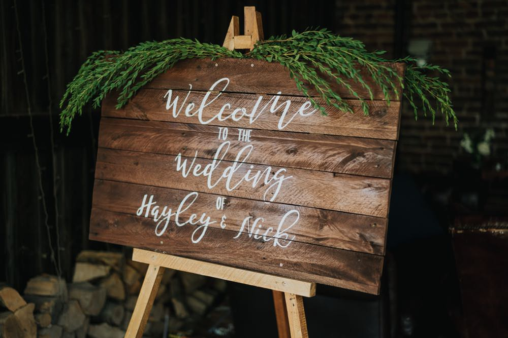 Welcome Sign Signs Signage Wooden The Barns East Yorkshire Wedding Bloom Weddings
