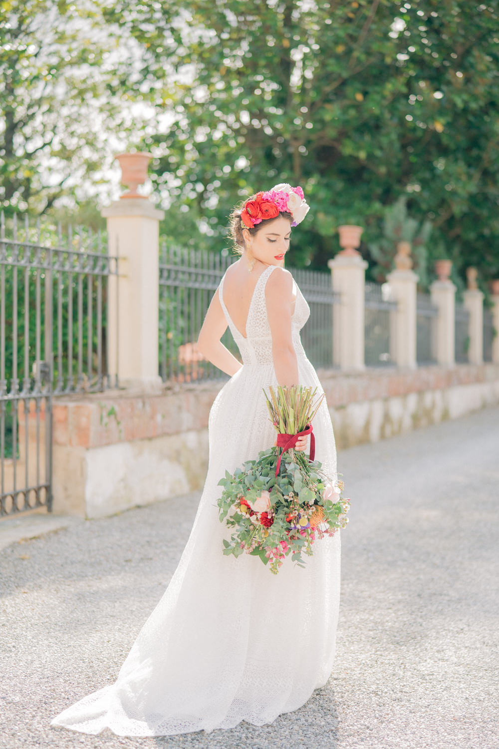 Dress Gown Bride Bridal Lace Straps Tuscan Wedding Ideas Giuseppe Giovannelli