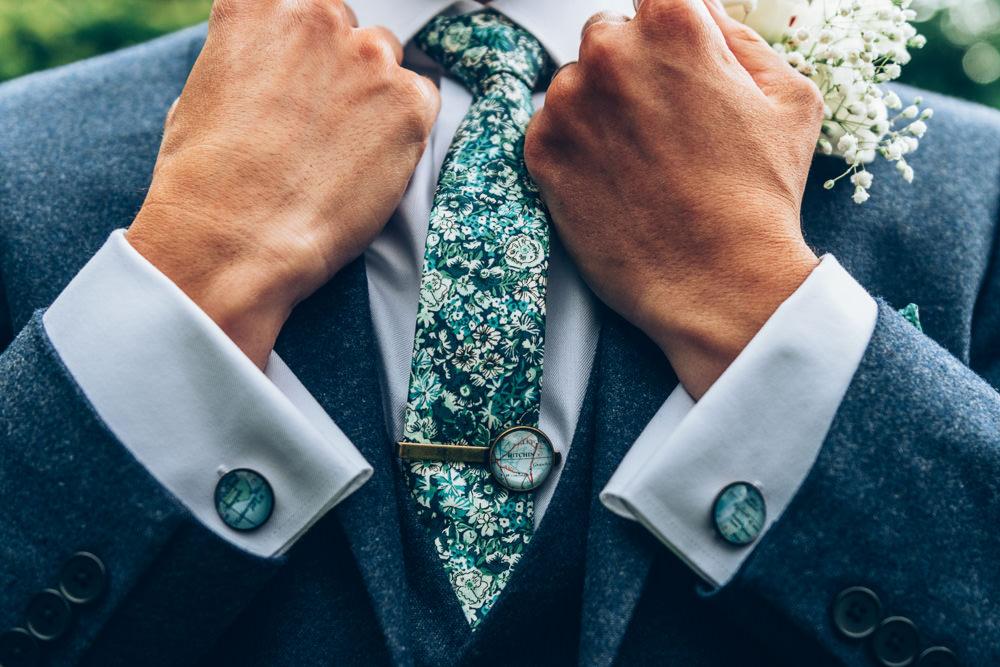 Groom Suit Blue Cufflinks Tie Green Two Part Wedding Erica Hawkins Photography