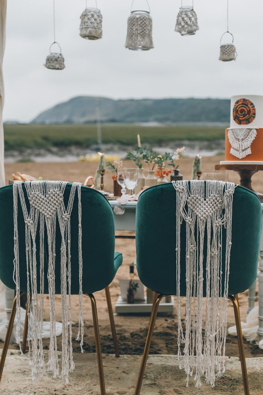 Chairs Macrame Decor Beach Wedding UK Maria Madison Photographer