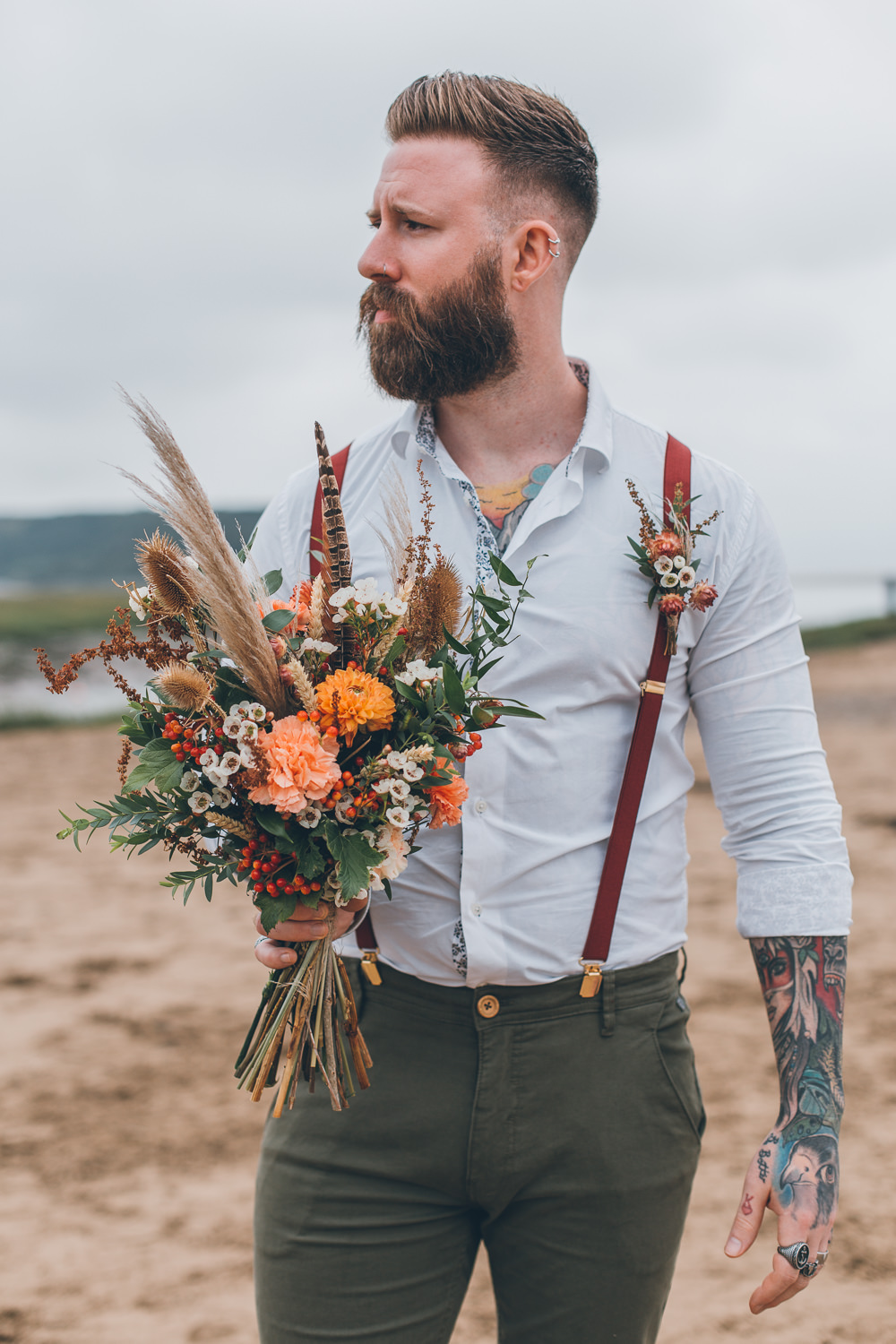 Bride Bridal Bouquet Flowers Orange Red Pampas Grass Beach Wedding UK Maria Madison Photographer