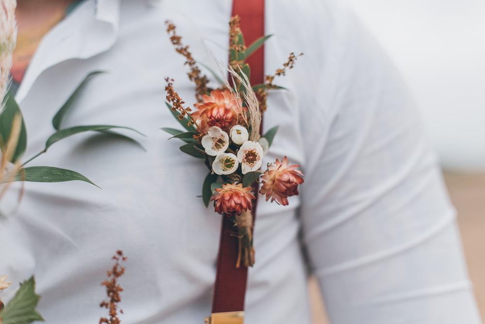 Groom Buttonhole Flowers Beach Wedding UK Maria Madison Photographer
