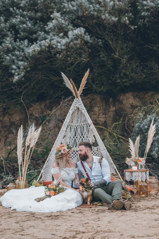 Beach Wedding UK Maria Madison Photographer Tipi Seating Area Boho