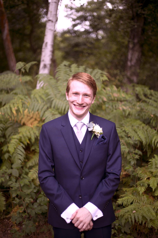 Groom Suit Navy Pink Tie Cuffley Camp Wedding Heather Winstanley Photography