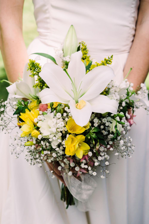 Bouquet Flowers Bride Bridal Lily Yellow Freesia Garden Wedding Reception Jade Touron Photography