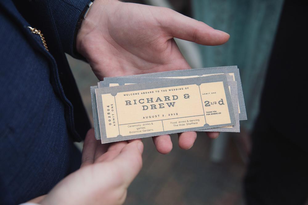 Ticket Stationery Hide Sheffield Wedding Sasha Lee Photography