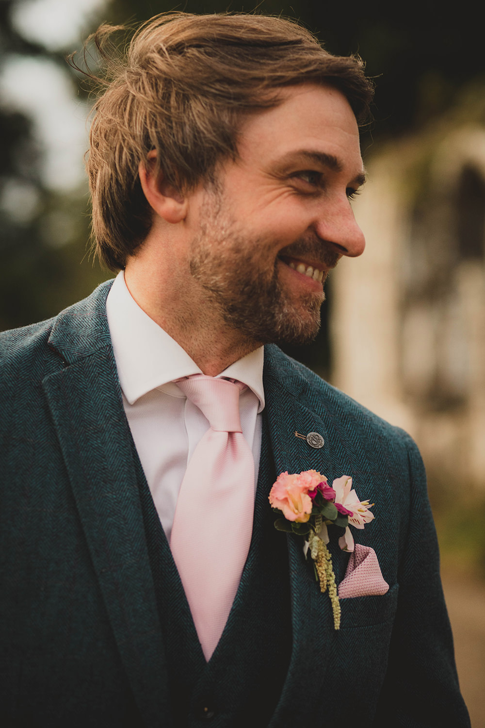 Jervaulx Abbey Wedding Ideas Laura Adams Photography Groom Suit Blue Pink Tie Buttonhole Flowers
