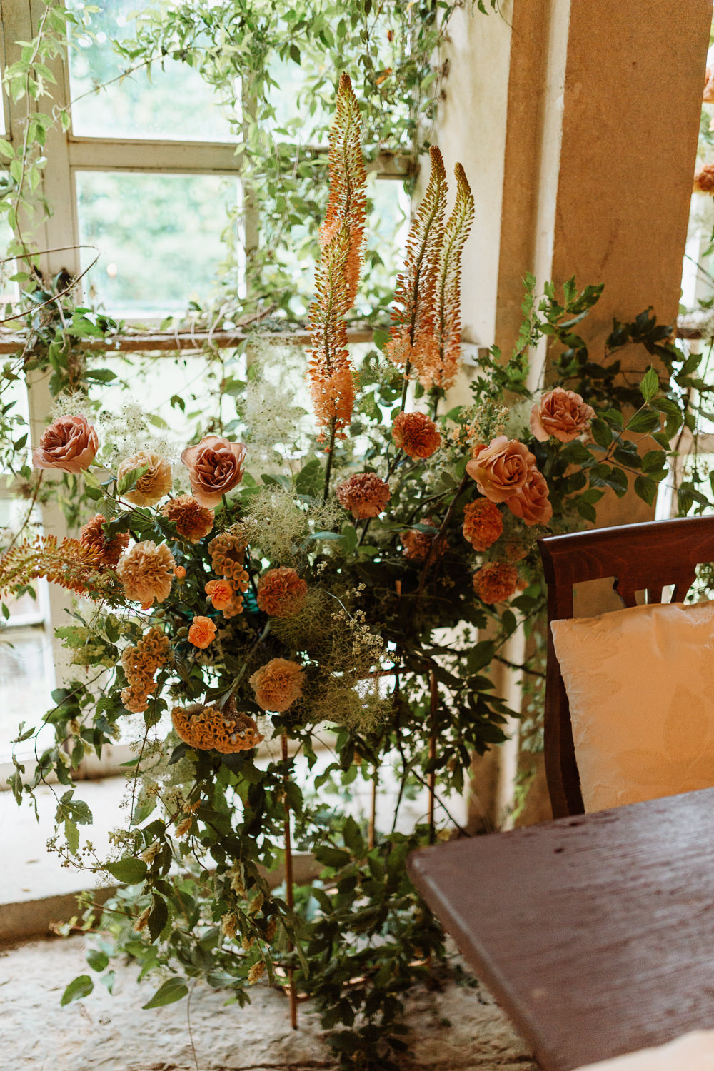 Flowers Decor Peach Rose Greenery Foliage Natural Wedding Ideas Frame Of Love