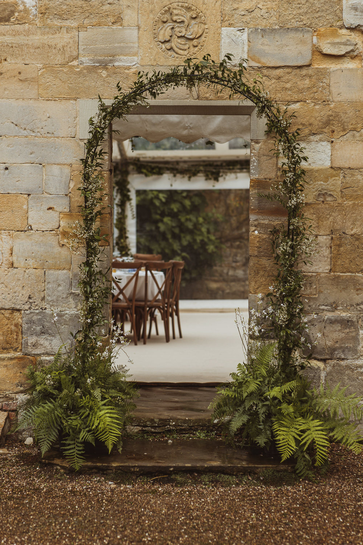 Greenery Foliage Arch Flowers Decor Newburgh Priory Wedding Neil Jackson Photographic