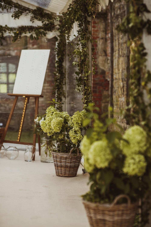 Hydrangea Flower Baskets Newburgh Priory Wedding Neil Jackson Photographic