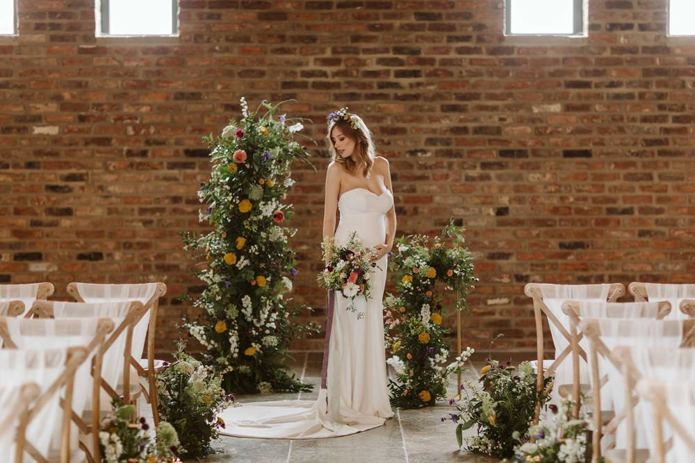 Flower Installation Backdrop Ceremony Aisle Oakwood at Ryther Wedding Freya Raby