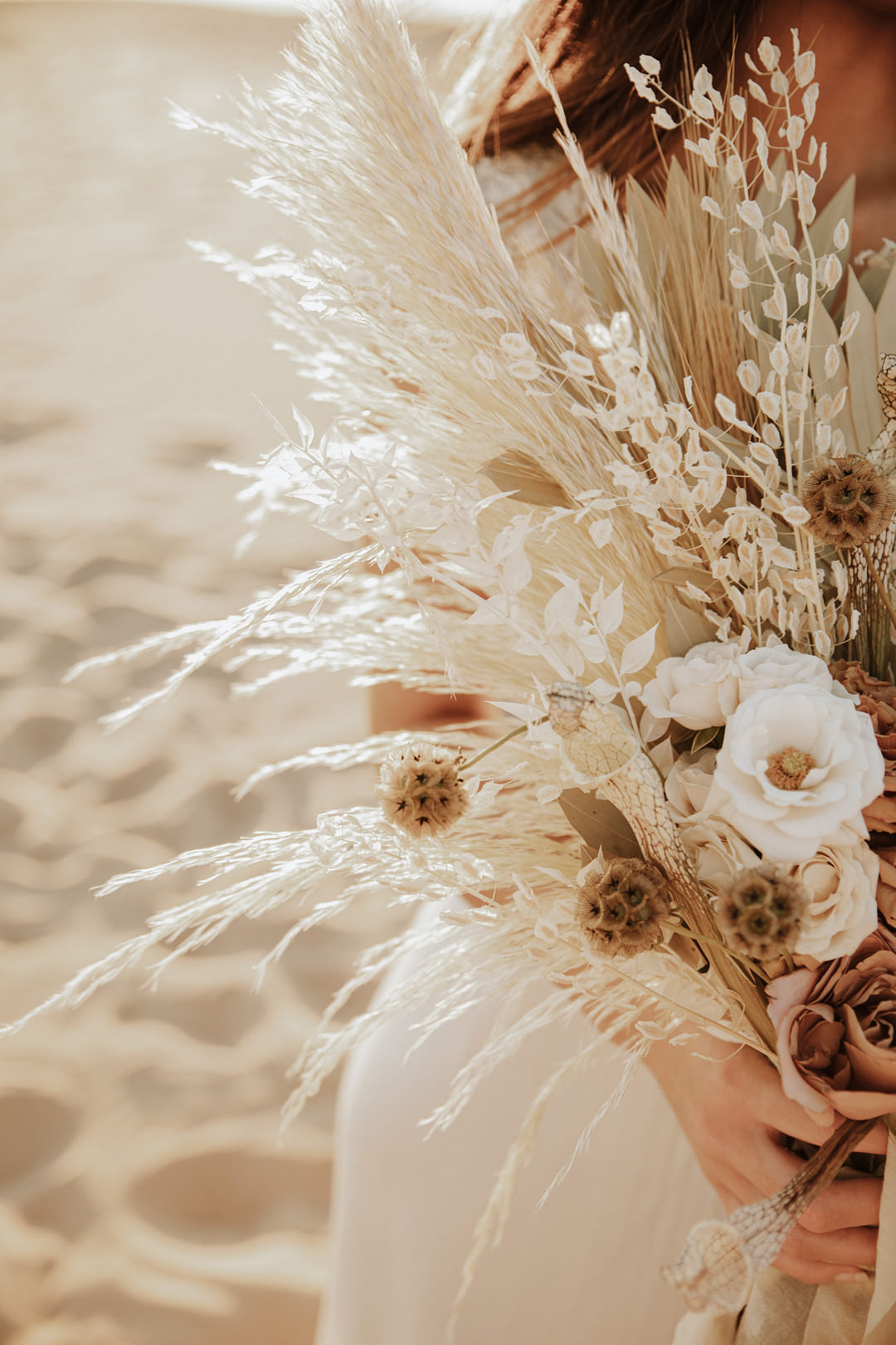 Bouquet Flowers Bride Bridal Dried Flowers Grass Palm Sand Dunes Wedding Photos By Gayle