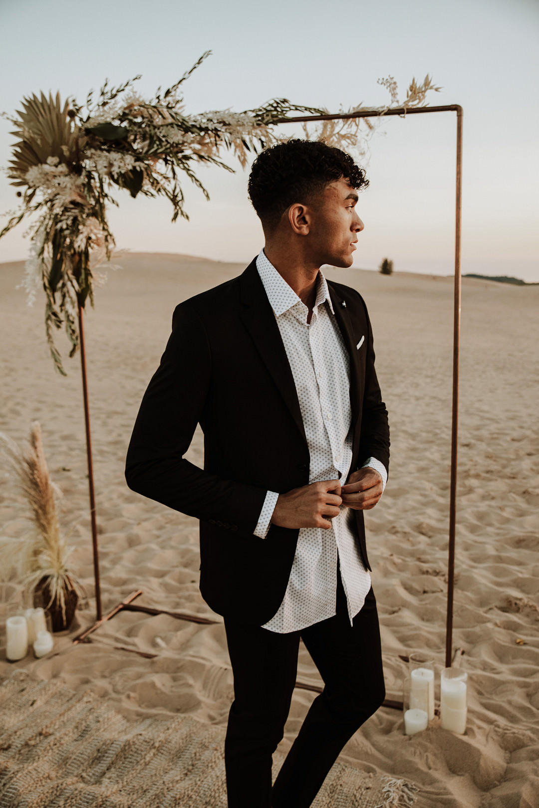 Groom Suit Open Collar Shirt Sand Dunes Wedding Photos By Gayle