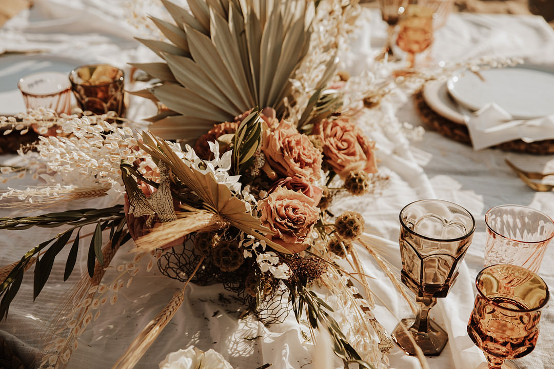 Table Tablescape Dried Flowers Boho Candles Rust Orange Palms Sand Dunes Wedding Photos By Gayle