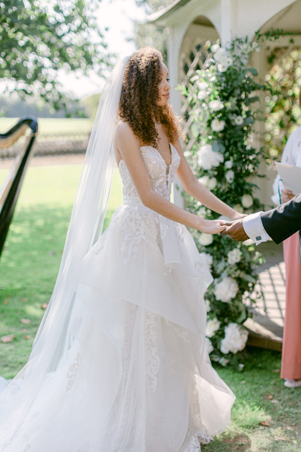 Dress Gown Bride Bridal Bride Bridal Hair Make Up Tulle Layers Sweetheart Strapless Veil Stately Home Wedding Whitney Lloyd Photography
