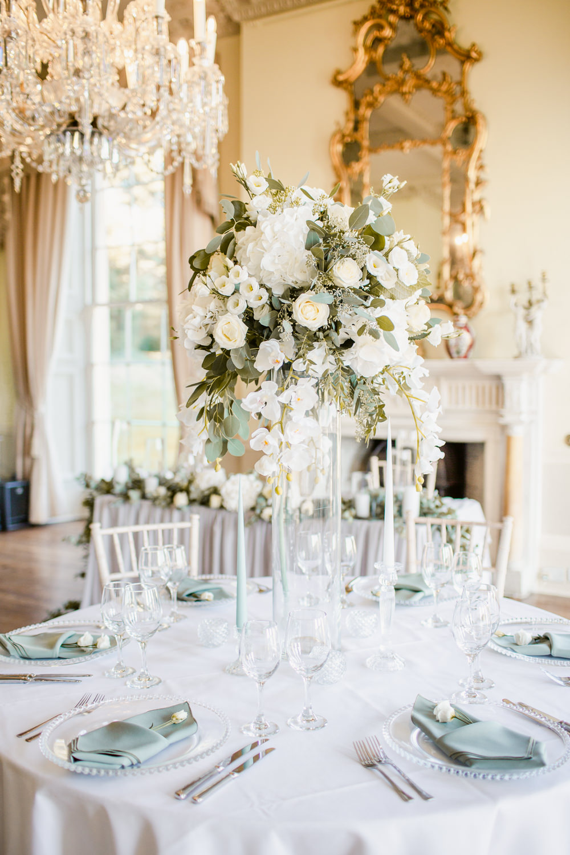 Centrepiece Flowers Greenery Foliage Tall Stately Home Wedding Whitney Lloyd Photography