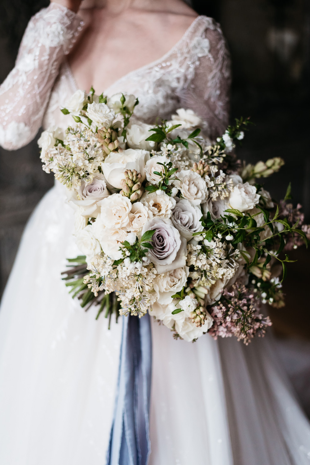 Bouquet Flowers Bride Bridal Rose Tuberose Lilac Blossom White Ribbons Swan Lake Wedding Ideas Salsabil Morrison