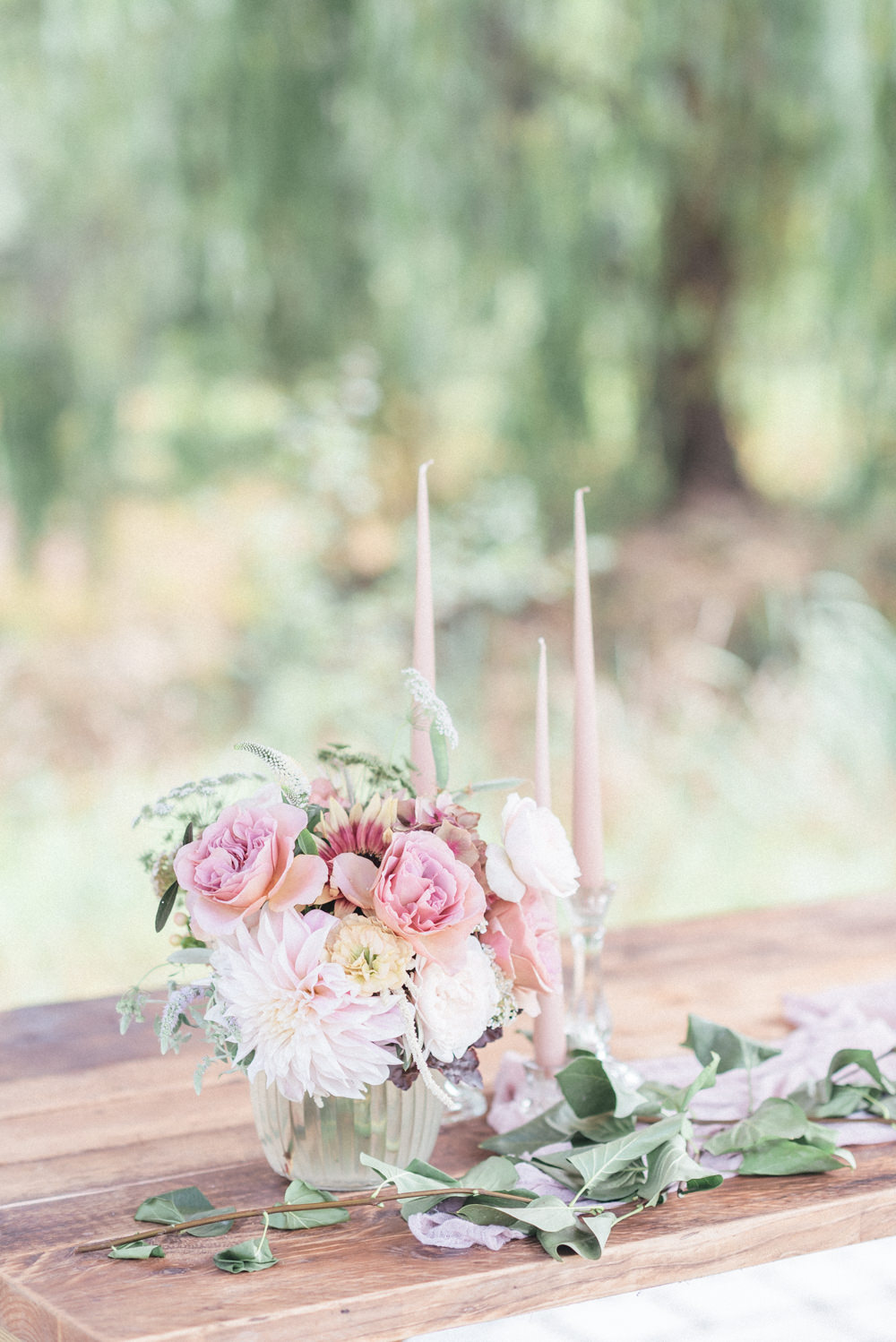 Ceremony Table Flowers Pink Dahlia UK Destination Wedding Hannah McClune Photography