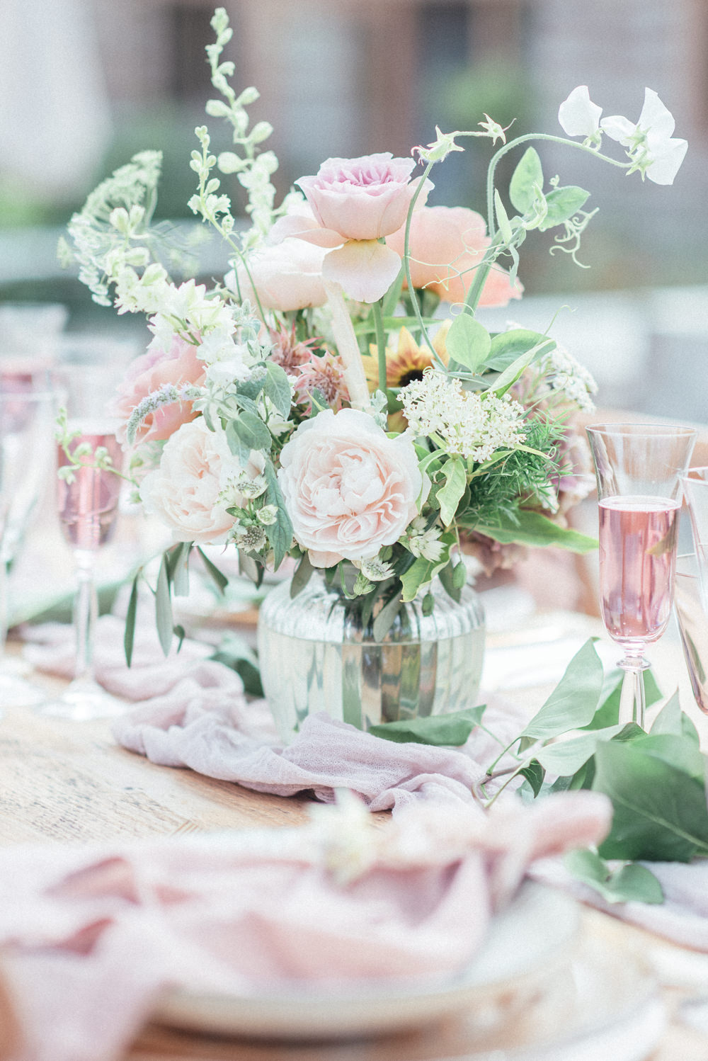 UK Destination Wedding Hannah McClune Photography Table Flowers Centrepiece Pink Rose