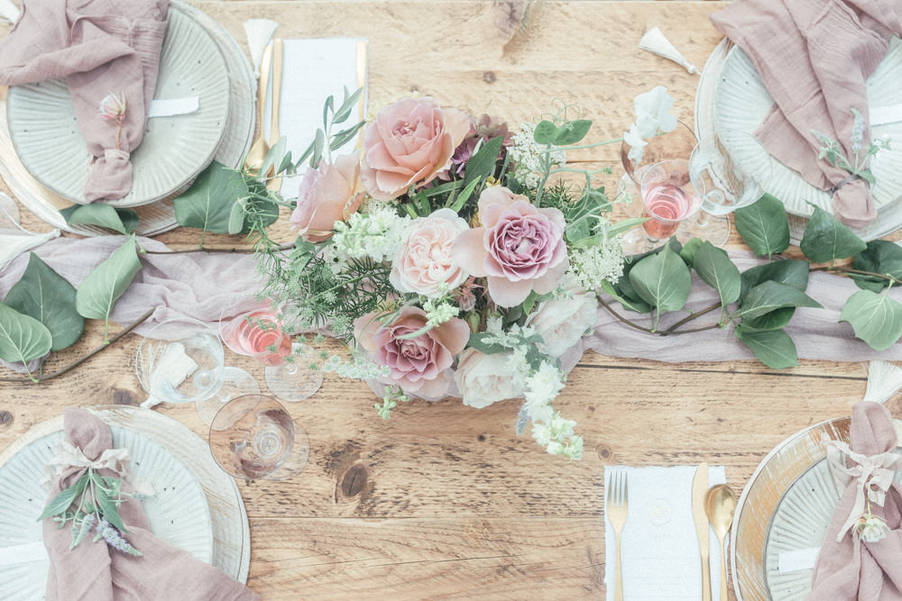 Table Tablescape Decor Pink Pastel Pretty Candles Flowers UK Destination Wedding Hannah McClune Photography