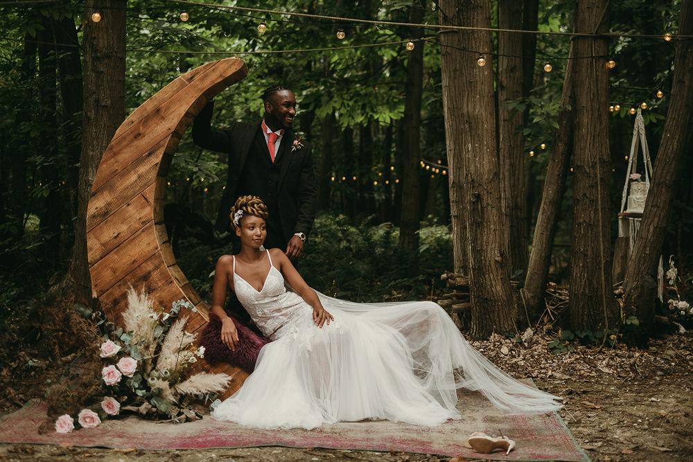 Crescent Moon Backdrop Woods Wedding Tom Jeavons Photography