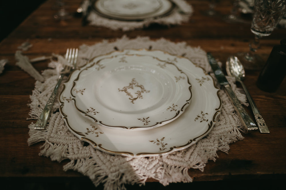 Plates Place Setting Woods Wedding Tom Jeavons Photography