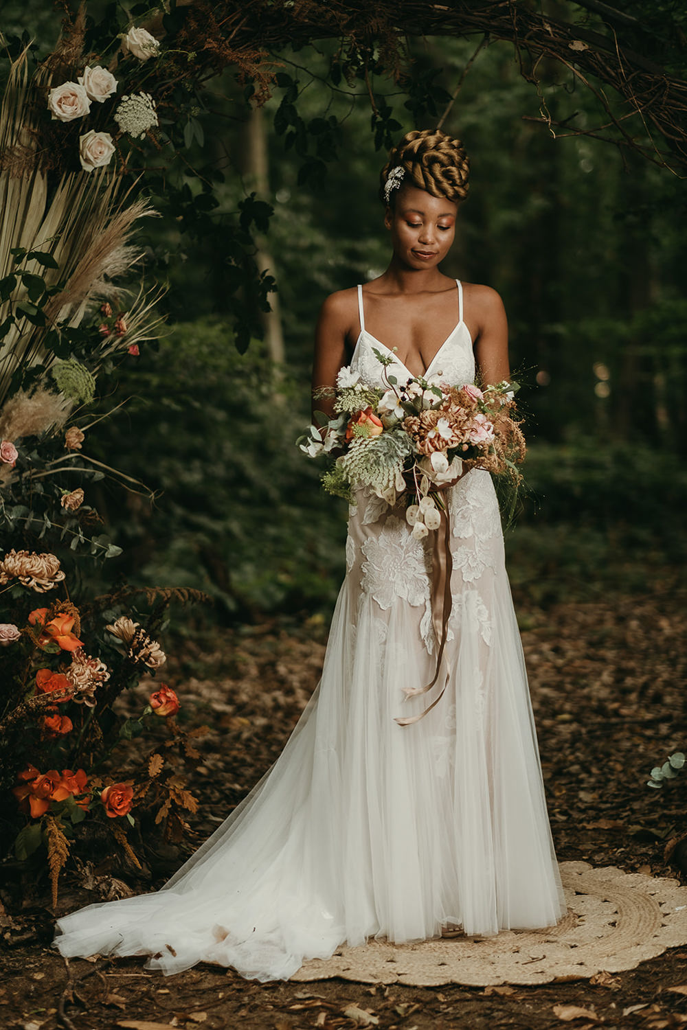 Dress Gown Bride Bridal Lace Tulle Straps Woods Wedding Tom Jeavons Photography