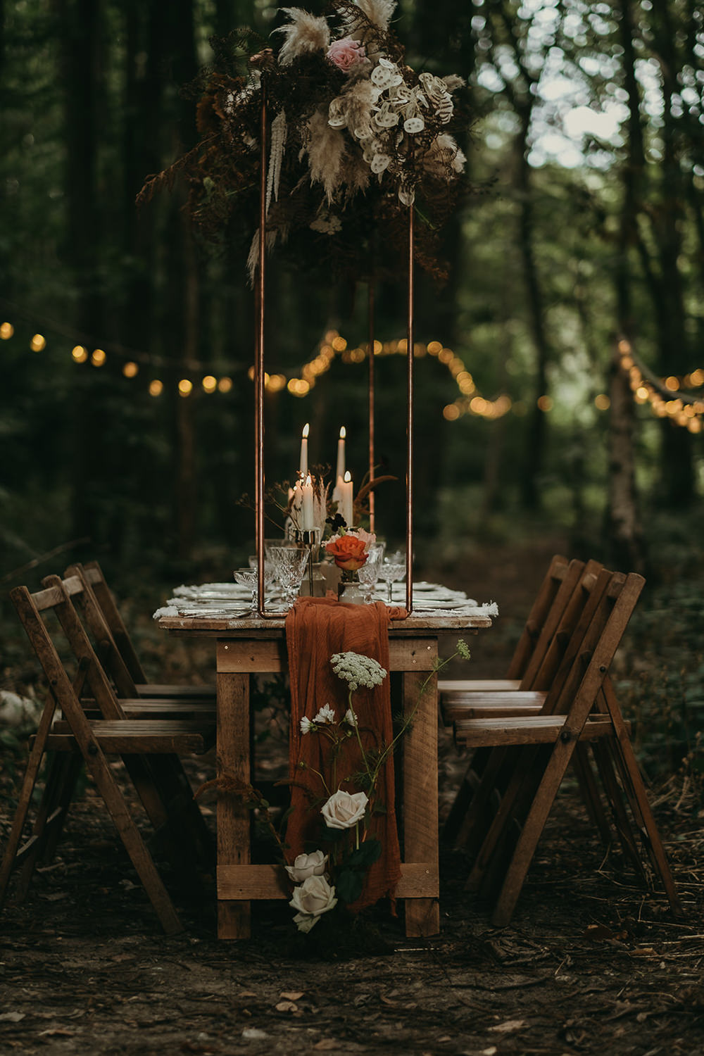 Table Tablescape Decor Candles Flowers Lighting Woods Wedding Tom Jeavons Photography