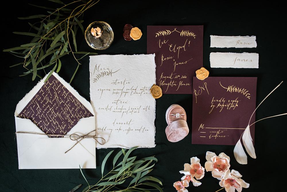 Barn Elopement FJS Wedding Photography Stationery Invite Invitations Bugundy