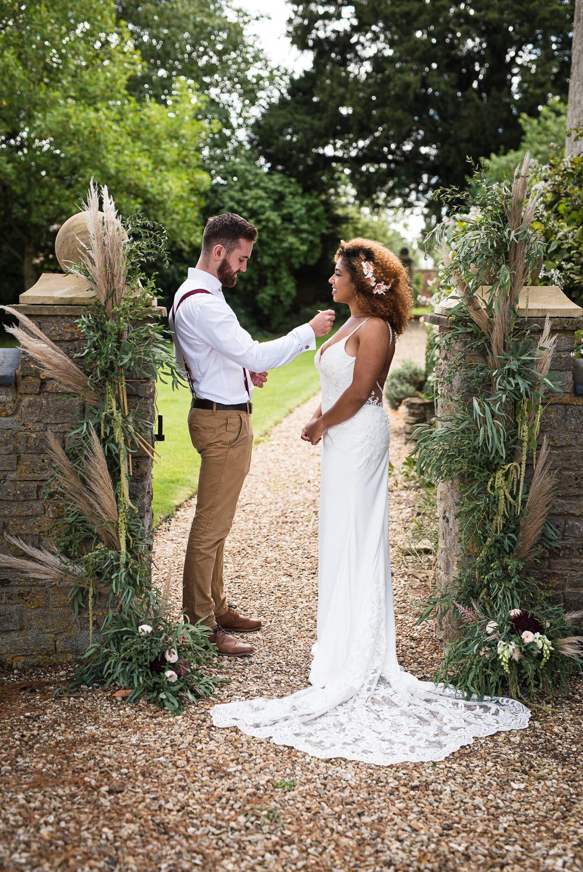 Pampas Grass Greenery Backdrop Barn Elopement FJS Wedding Photography