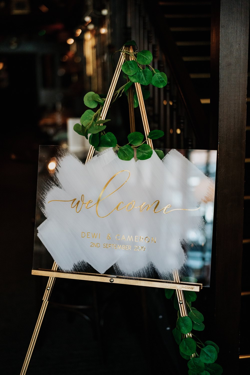 Welcome Sign Signs Signage Clear Acrylic Painted Brighton Town Hall Wedding Bloom Weddings