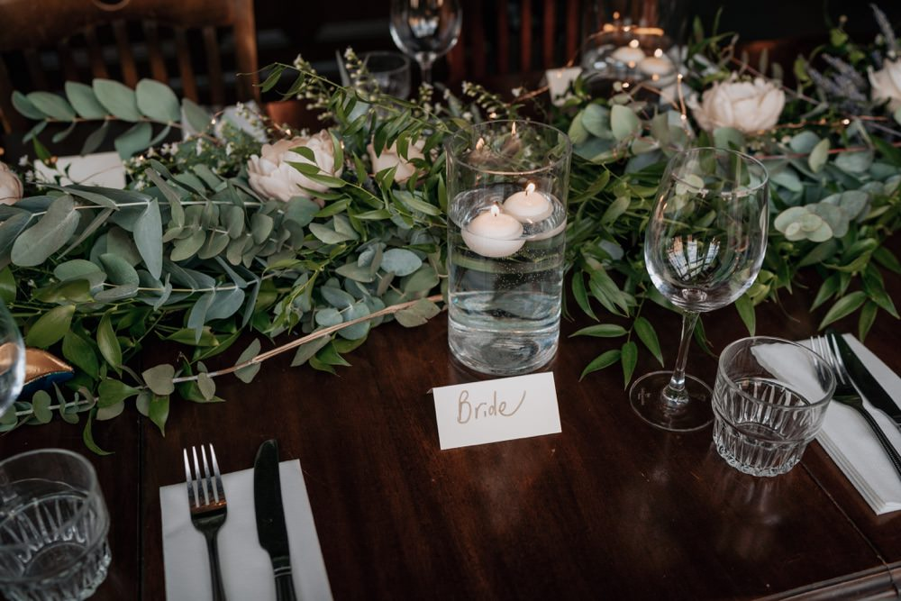 Long Wooden Table Decor Greenery Foliage Candles Brighton Town Hall Wedding Bloom Weddings