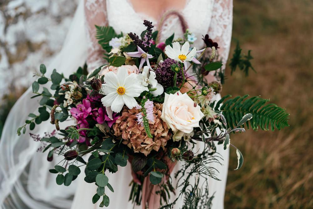 Bouquet Flowers Bride Bridal Nigella Cosmos Rose Eucalyptus Hydrangea Covid Real Wedding Holly Bobbins Wedding Photographer