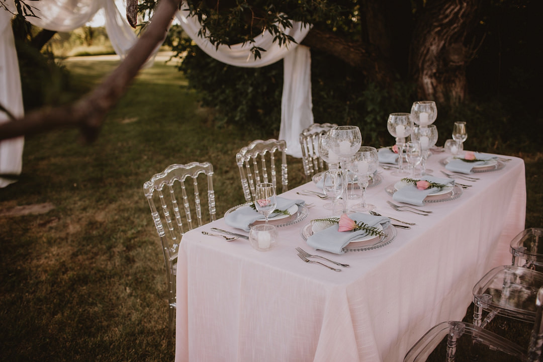 Table Tablescape Decor Candles Pink Cloth Ghost Chairs Fairytale Forest Wedding Christina W Kroeker Creative