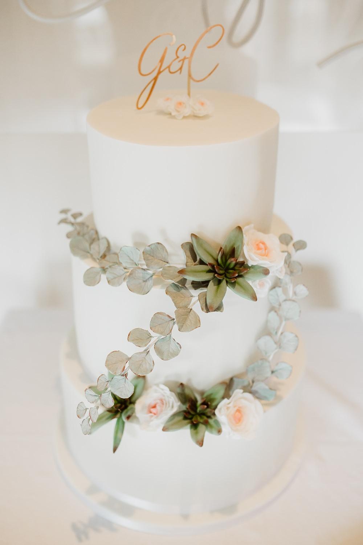 Cake Greenery Flowers Foliage Greek English Wedding Holly Collings Photography