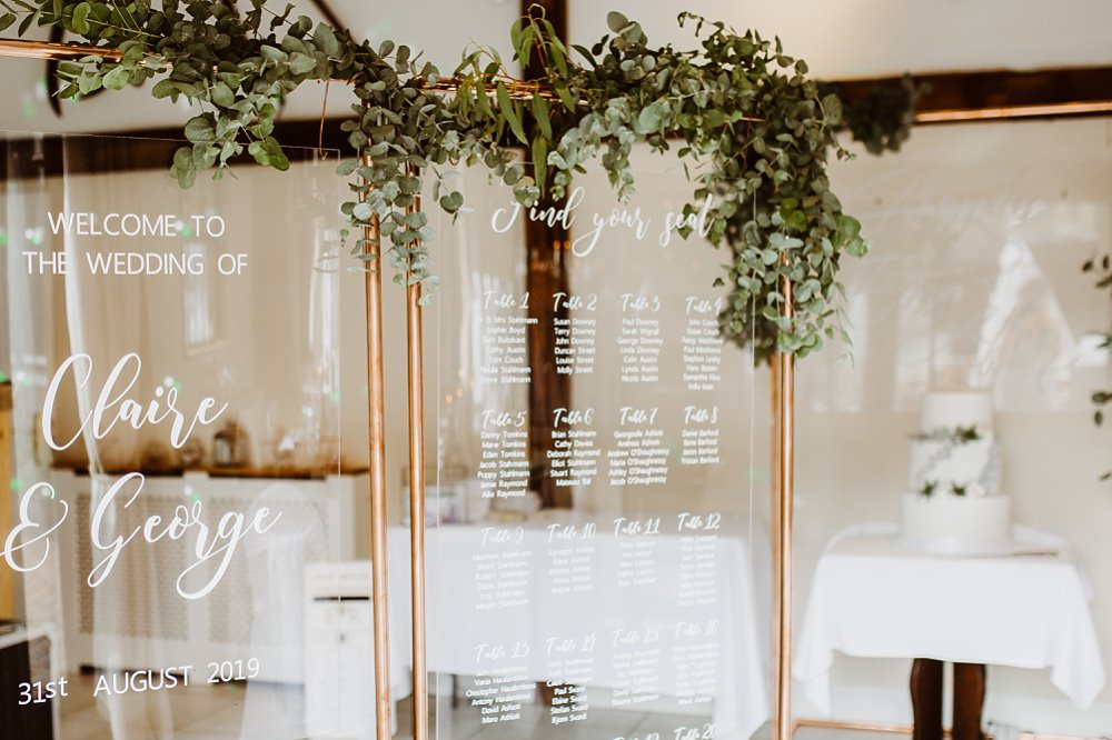 Table Plan Seating Chart Sign Signs Signage Clear Perspex Acrylic Greenery Greek English Wedding Holly Collings Photography