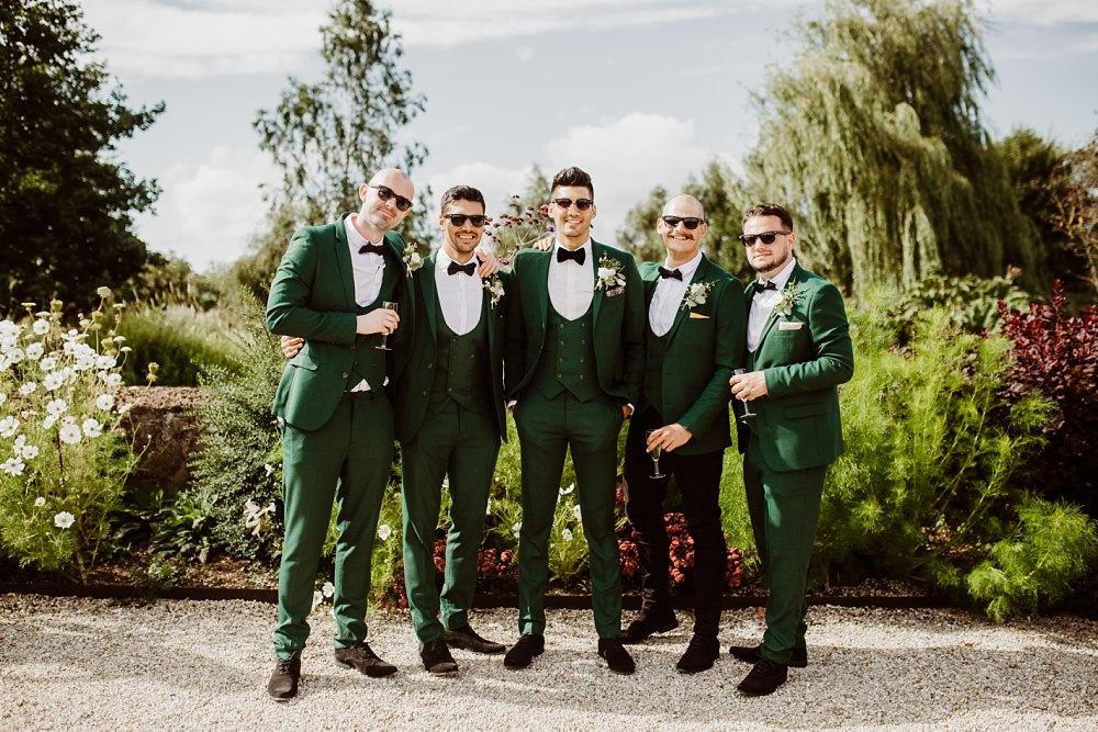 Green Suit Groom Groomsmen Bow Tie Greek English Wedding Holly Collings Photography