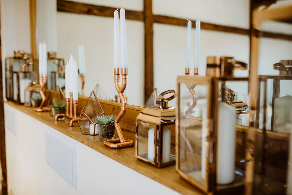 Candles Copper Decor Greek English Wedding Holly Collings Photography