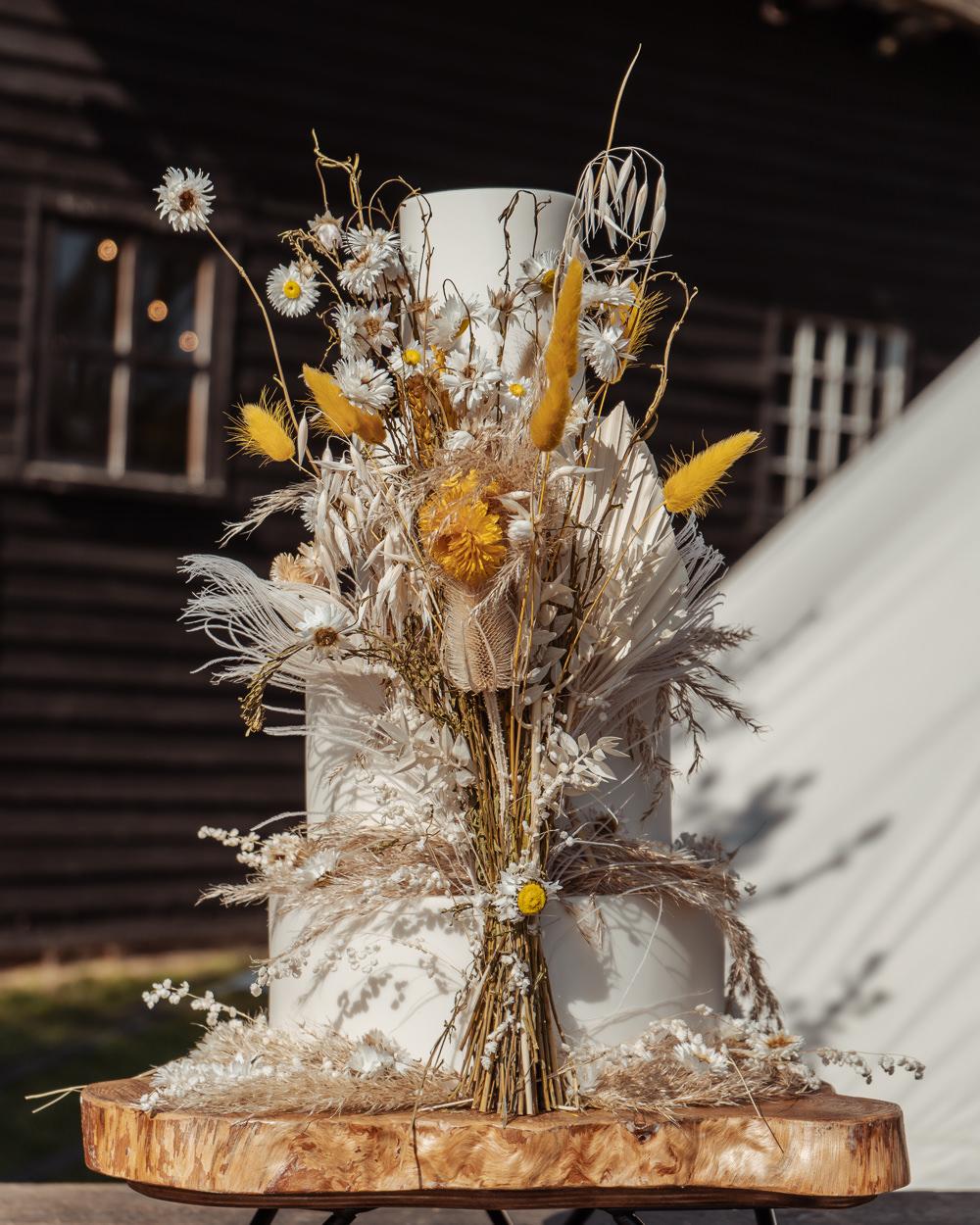 Cake Buttercream Dried Flowers Boho Bohemian Intimate Wedding Ideas Imogen Eve Photography