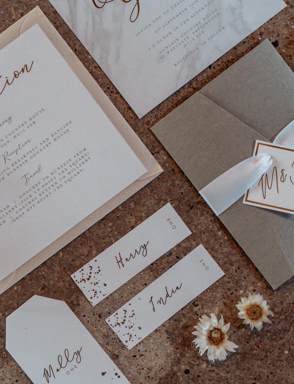 Stationery Invite Invitations Grey Splatter Calligraphy Intimate Wedding Ideas Imogen Eve Photography