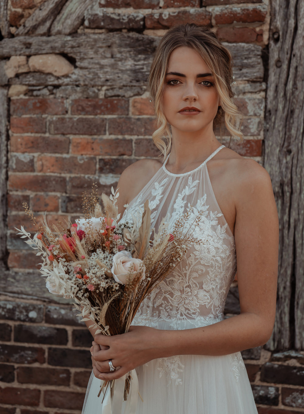 Bouquet Flowers Bride Bridal Dried Flowers Grass Rose Intimate Wedding Ideas Imogen Eve Photography