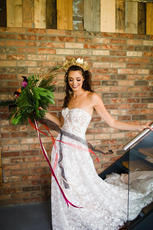 Dress Gown Bride Bridal Strapless Lace Jungle Wedding Ideas Terri Pashley Photography