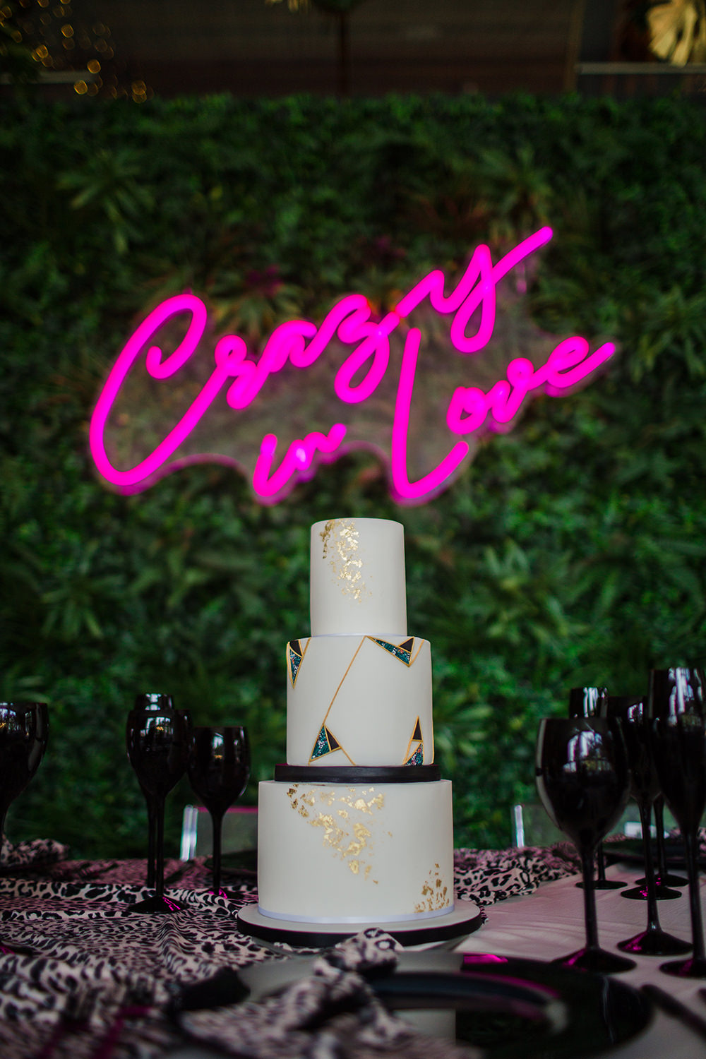 Pink Neon Sign Signs Signage Light Cake Table Jungle Wedding Ideas Terri Pashley Photography