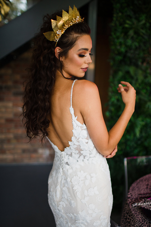 Dress Gown Bride Bridal Low Back Jungle Wedding Ideas Terri Pashley Photography