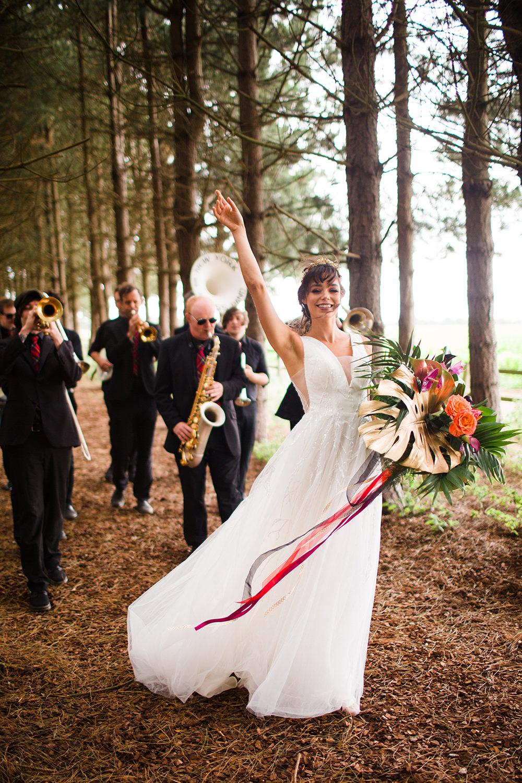 Brass Band Jungle Wedding Ideas Terri Pashley Photography