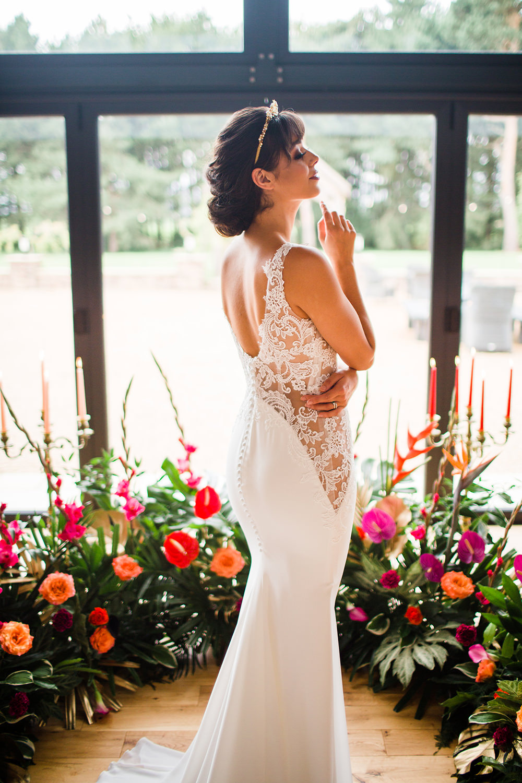 Dress Gown Bride Bridal Illusion Lace Tropical Flowers Pink Orange Lily Jungle Wedding Ideas Terri Pashley Photography