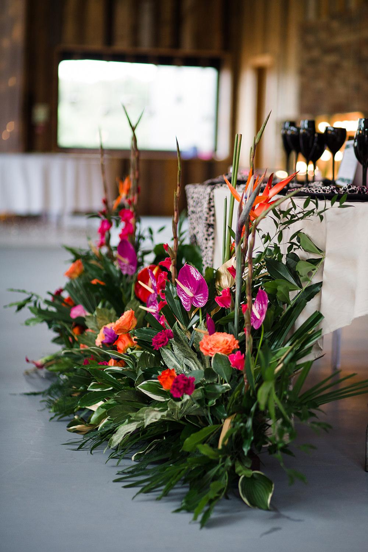 Tropical Flowers Pink Orange Lily Flamingo Jungle Wedding Ideas Terri Pashley Photography