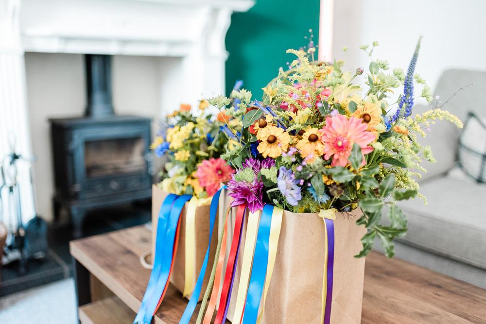 Scotland Garden Wedding LJ Horton Photography Bouquet Flowers Bride Bridal Rainbow Ribbons