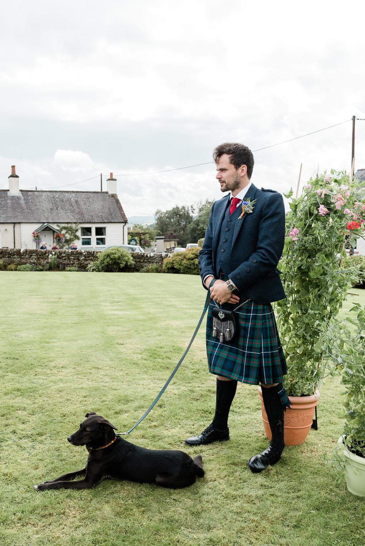 Groom Kilt Red Tie Dog Pet Scotland Garden Wedding LJ Horton Photography